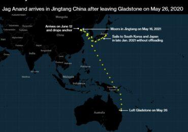 Австралийское судно с углем приняли в Китае после 356 дней простоя в море