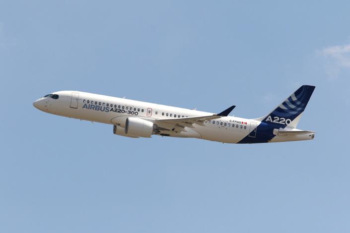 Airbus поставит в Китай узкофюзеляжные самолёты A220